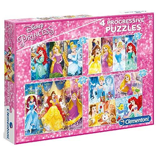 Clementoni 07721 07721-Suercolor Princess Puzzle-20 + 60 + 80 + 180 Piezas