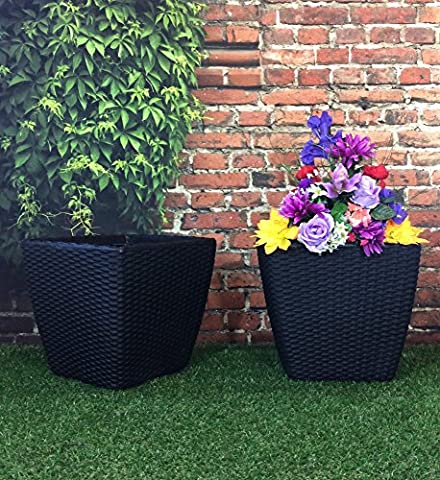 (PACK OF 2) 35cm Square Basket Weave Rattan Effect