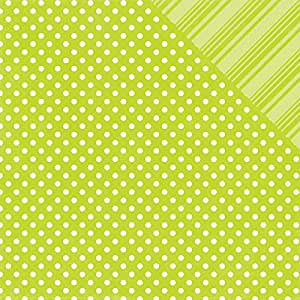"""Brights Dots & Stripes Double-Sided Cardstock 12""""X12""""-Lime"""