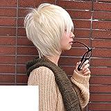 perruque cheveux chez l'homme/Version coréenne de recherche réaliste court et les cheveux raides-blanc