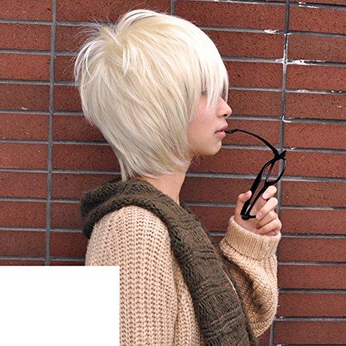 Männliche kurze Haare Perücke/Koreanische Version von realistisch aussehenden kurzes und glattes Haar Perücke Haarausfall-weiß (Koreanische Cosplay Kostüme)