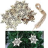 Kit 10 addobbi natalizi decorazione palline albero natale legno fiocco neve
