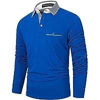 GNRSPTY Polo Manica Lunga Uomo Casual Cotone con Tasca Plaid Golf Business Tennis Maglietta Camicia