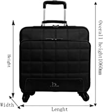 DI GRAZIA Oxford 16 Inch LAPOE Rolling Business Laptop Cabin Case with 4 Wheels 360 Degree Rotation