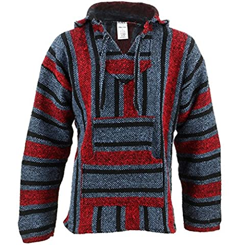 Mexican Baja Jerga blue and red hooded hippie top (L)