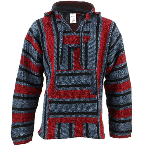 Mexican-Baja-Jerga-blue-and-red-hooded-hippie-top