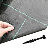 FREE PEGS + 1m x 50m Woven Weed Control FABRIC Ground Mulch Landscape 40 Pegs