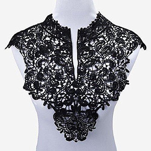 yulakes 2pcs cuello de encaje insertar collar collar decoración para vestido DIY Handwork parte delantera + trasera–talla única negro