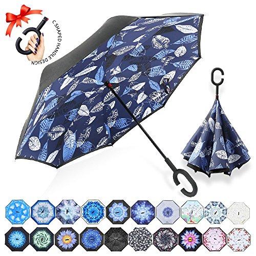ZOMAKE Paraguas plegable reverso con manos en forma de C Mango - Protección inversa a prueba de viento de doble capa inversa inversa de los coches paraguas plegables (Hojas azules y blancas)