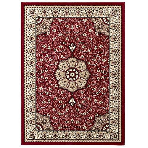 HomeLinenStore Traditionelle Central Medaillon Design Qualität getuftet Teppich/Teppich, rot, Polypropylen, rot, 80 x 140 cm - Luxus Traditionelle Teppich
