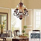 SED Amerikanische Retro Kerze Kristall Eisen Kronleuchter Wohnzimmer mit Esszimmer Kronleuchter (optionale Größe),5-Head