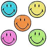 2 tlg. Set: Bügelbilder - Smiley - 3,8 cm * 3,8 cm - Aufnäher gewebter Flicken / Applikation - Gesichter Smile Emotion Smileys / lachend grinsend - bunt World - Mädchen Jungen Kinder Erwachsene - Smilies