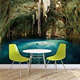 Grotte Höhle Wasser See Natur - Forwall - Fototapete - Tapete - Fotomural - Mural Wandbild - (2014WM) - XXL - 368cm x 254cm - Papier (KEIN VLIES) - 4 Pieces
