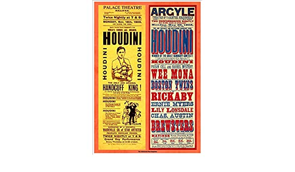 1905 A4 Glossy Vintage Magicians Poster Art Print Birkenhead 1903 /& Argyl Theatre Of varieties Houdini Palace Theatre Halifax
