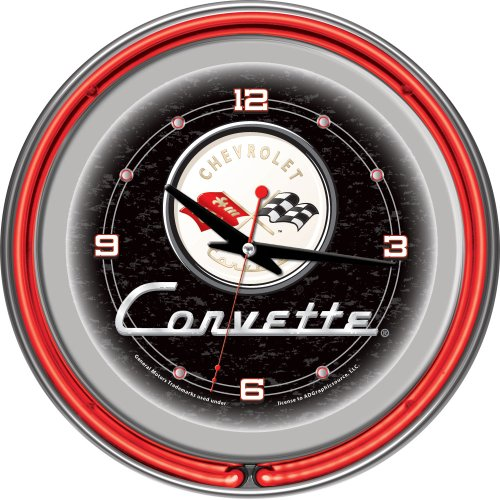 Chevrolet Corvette Chrome Double Ring Neon Clock, 14 by Trademark Gameroom