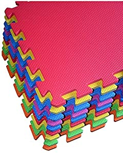 9-tile Multi-color Exercise Mat Solid Foam EVA Playmat Kids Safety Play Floor by Poco Divo Model: by Toys & Child