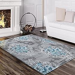 Designer Teppich Edel Mit Vintage Blumen Muster Meliert In Grau Creme Türkis, Grösse:120x170 cm