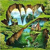 Mbwlkj Traum Wasserfall Rock Bodenbelag Tapete Schlafzimmer Badezimmer Pvc Selbstklebende Wasserdichte 3D Bodenbelag Fliesen Wandbild-200cmx140cm