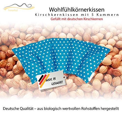 Kirschkernkissen / Entspannungskissen zur Wärmebehandlung - Mikrowellengeeignetes Heizkissen (Wärmekissen) // Made in Germany // Mit fünf Kammern // in 16 erfrischenden Farben! (Für Wärme- oder Kältetherapie) (türkis)