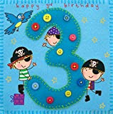 twizler 3. Geburtstag für Jungen, mit Pirat und Papagei–Drei Jahr alt–Alter 3–Kinder Geburtstag Karte–Jungen Geburtstag–Happy Birthday Karte