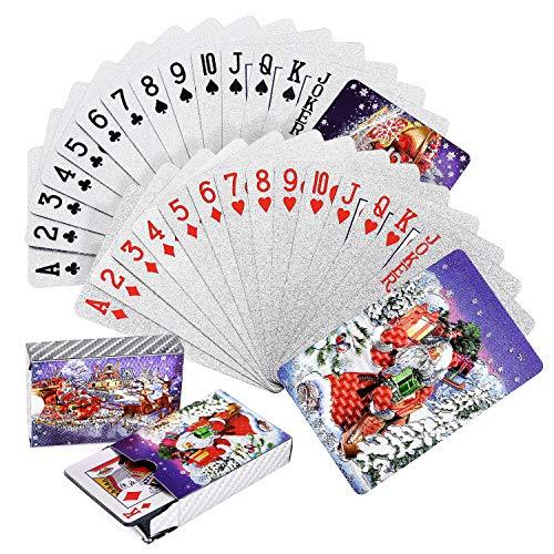 Joyoldelf 2 Stück Spielkarten, Wasserfeste Pokerkarten mit Geschenkbox,Familienparty Spiel Playing Cards (Weihnachten Pokerkarten)