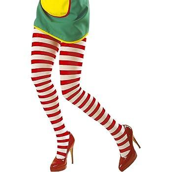 NET TOYS Collants rayés Bas Rouge-Blanc M L 40 BIS 46 Nylons colorés  Leggings de Clown Carnaval Bas pour Femme infirmière mi-Bas Bicolore Sexy  Collants ... bab787a7a53