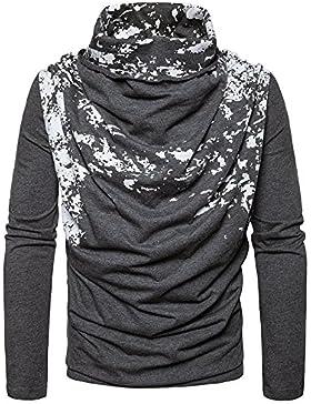 Il collare a maniche lunghe maglione Maglia uomo colpito la maglietta testa manicotto Sau leisure timbro, grigio...