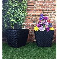 Confezione da 2 pezzi, 35 cm, motivo Basket, effetto Rattan, colore: nero