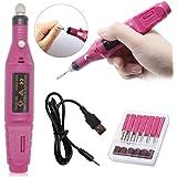USB elektriska nagelfilar 6-i-1 manikyrset, nagelborr för manikyr, poleringsverktyg, nagelsax för borttagning av callus, penn