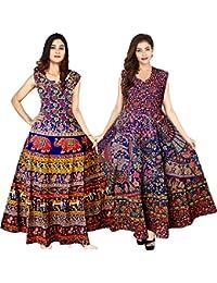 New Radhika Enterprises Women's Cotton Long Length Printed Dress Combo (FR_145, Multicolour, Free Size) Pack of 2