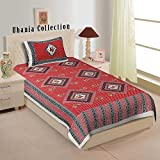 Ubania Collection Gujari Print Floral Printed 120 Tc Cotton Single Bedsheet With 1 Pillow Cover- Red