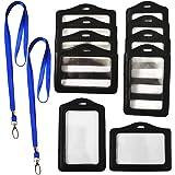 RuiChy 10 Pièces Noir Porte-badges avec 2 Pièces Sangle de Lanière, Faux Cuir Verticale Horizontal Étiquette de Nom Titulaire