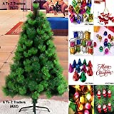 5 Feet Needle PINE Christmas Tree With Metal Stand + 1 LED Lights & 64pc Decoration Set