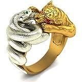 خاتم ثعبان النمر للرجال، ذهب نمر فضي محارب الأفعى، خمر القوطية عيون حمراء النمر خاتم الرأس، الشرير هيب هوب عيون خضراء خاتم ثع