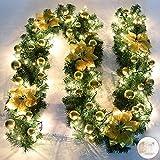 Queta Ghirlanda Natalizia, Ghirlanda di Abete Decorazione Natalizia con Fiori Bellissime lampade Decorazione Natalizia per Scale, pareti, Porte 2.7m (Golden)