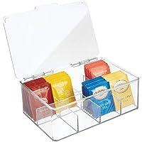 mDesign boîte à thé avec couvercle – la boîte à thés pratique pour rangement de thé, transparente