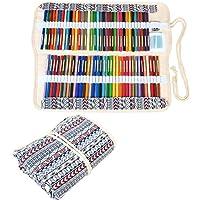 Damero Wrap Tele per 100 matite colorate, cassa del supporto di matita rotolo multiuso Pouch per Ufficio Scolastico, Arte, Artigianato, sacchetto della matita per la corsa, (matite non incluso) Bohemian