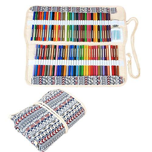 Damero Wrap Tele per 72 matite colorate, cassa del supporto di matita rotolo multiuso Pouch per Ufficio Scolastico, Arte, Artigianato, sacchetto della matita per la corsa, (matite non incluso) Bohemian