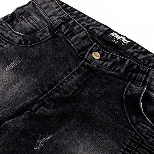 Phoenix Jeans Denim Pant Herren Jeans Biker Hose Destroyed Schwarz