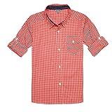 Bienzoe Jungen Baumwolle Plaid aufgerollt Ärmel Button-Down-Shirt Orange Weiß Größe 5/6
