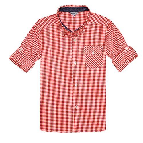 Bienzoe Jungen Baumwolle Plaid Knopf Unten Hemd Orange Weiß Größe 7/8