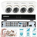 KKMOON CCTV Ueberwachung DVR Sicherheitssystem P2P Wolke Onvif Netzwerk Digital Video Recorder + 4 * Innenkamera + 4 * 60ft Kabel
