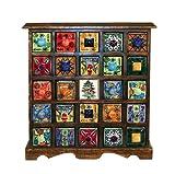 Gall & Zick Keramik Kommode mit 25 Schubladen als Adventskalender nutzbar