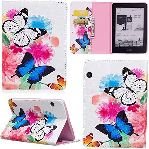 ge Hülle PU Leder Tasche Schutzhülle Cover Case Wallet Brieftasche Stand für Kindle Voyage - Schmetterlinge ()
