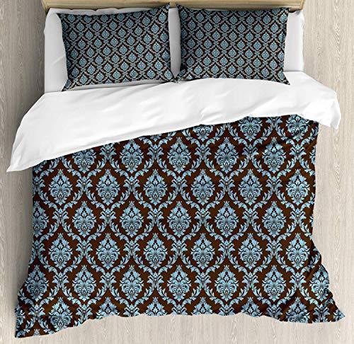 LnimioAOX Braunes und blaues Bettwäscheset von Jacobean inspirierte Damastblumenmotive Rhythmische Illustration, dekoratives 3-teiliges Bettwäscheset mit 2 Kissenbezügen, Chocolate Pale Sky Blue King -