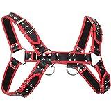 FourPlusOne Men's Faux Leather Shoulder Support Chest Adjustable Buckles Accerssory Chest Fancy Belt Braces (Black&Red)(Size: