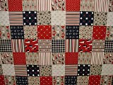 Nautisches Patchwork Quilting Leinen Look Stoff Vorhang Polster Quilting Craft