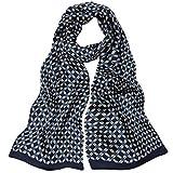 LD Seidenschal Herren 100% Seide Schal Doppellagig aus Satin Seidentuch Hypoallergen Männer Tuch Busines Herrenschals 160 x 30cm(Blaues Karo) MEHRWEG