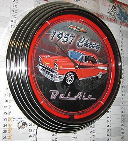 NEON UHR NEON CLOCK-1957 ROTES CHEVY BEL AIR AUTO GARAGE SIGN WANDUHR BELEUCHTET MIT ROTEN NEON RING!