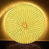 DUVERT 230V LED Band, IP65 wasserfest Licht Leiste, high bright 3-Chips SMD, 60 LEDs/m, helle Streifen mit An / Aus Schalter für Innen & Außen Hochzeit Weihnachten Dekolicht [Warmweiß, 1m]